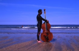 Steve Tucker - profile with double bass on the 